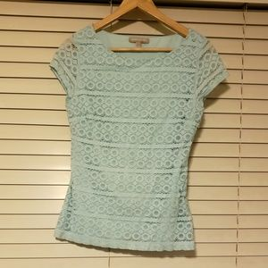 Banana republic size 6 light teal blue lace blouse